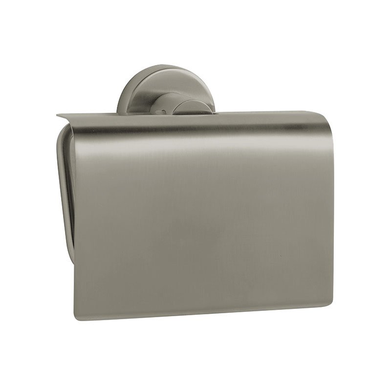 Venice Brushed Nickel Toilet Roll Holder with Cover