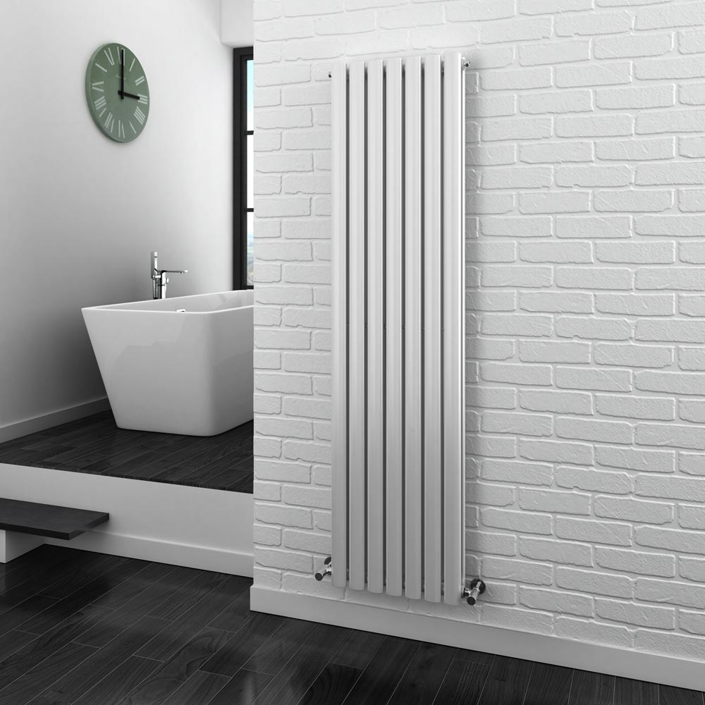 Metro Vertical Radiator - White - Double Panel (1600mm High) Feature Large Image