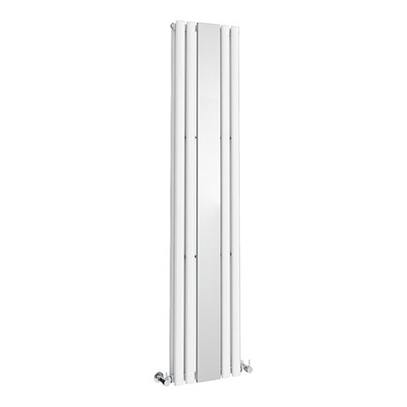 Metro Vertical Radiator with Mirror - White - Double Panel (H1800 x W381mm)