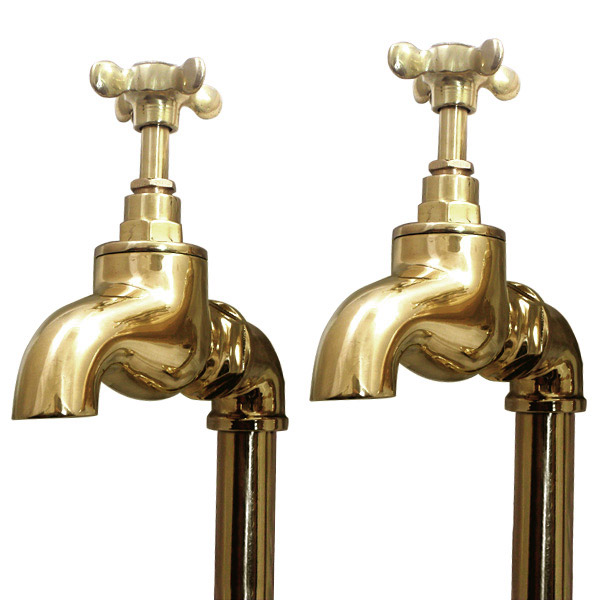 Original Polished Brass Large Kitchen Bib Taps On Stand