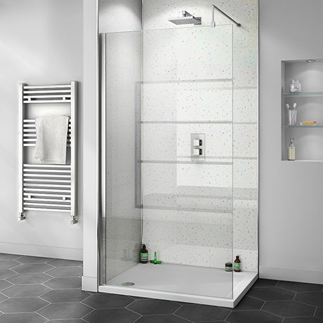 Orion White Arctic Sparkle 2400x1000x10mm PVC Shower Wall Panel
