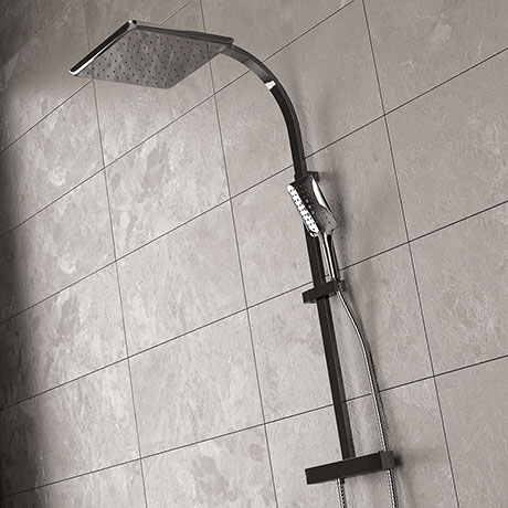 Bristan Vertico Thermostatic Exposed Bar Shower with Rigid Riser - Chrome - VR-SHXDIVFF-C