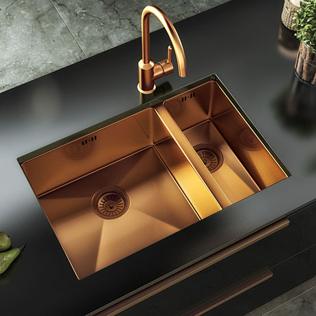 Venice 1.5 Bowl Brushed Copper Inset or Undermount Stainless Steel Kitchen Sink + Wastes