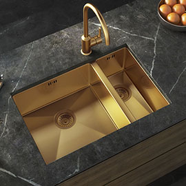 Venice 1.5 Bowl Brushed Gold Inset or Undermount Stainless Steel Kitchen Sink + Wastes