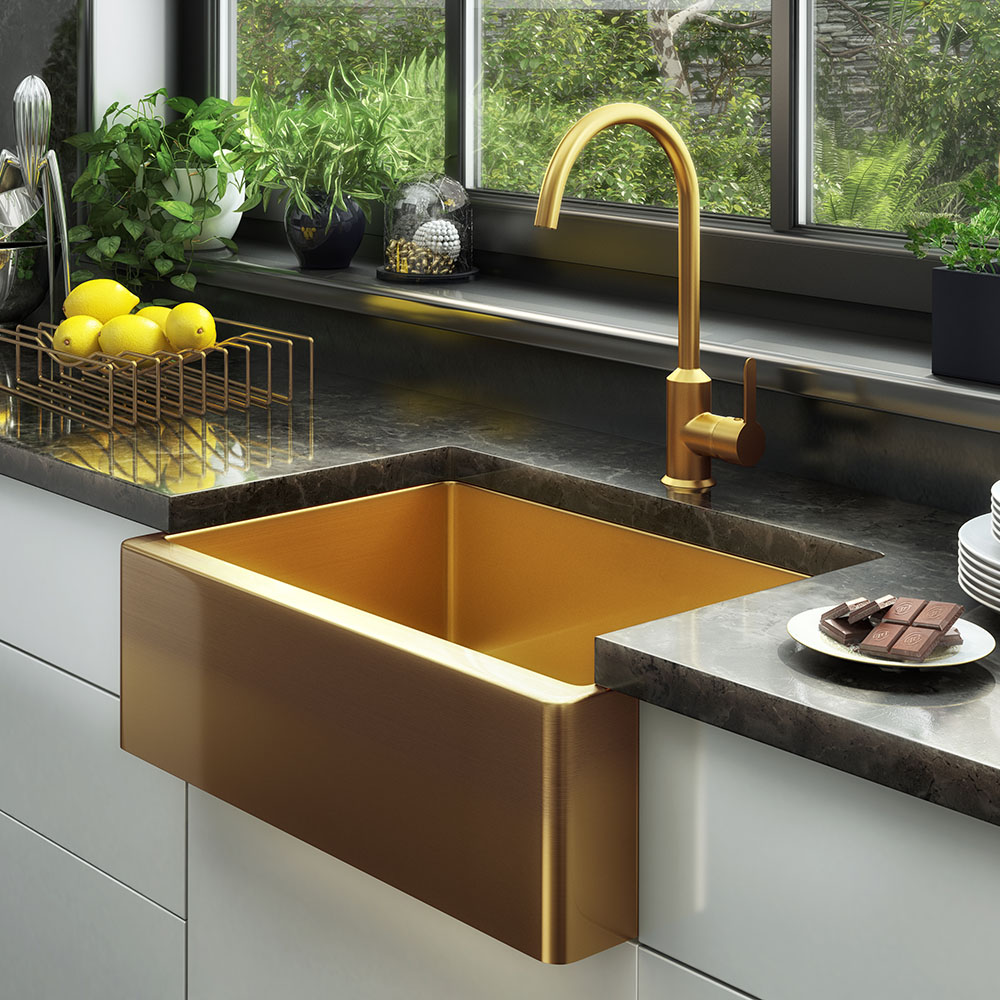 Venice Brushed Gold Belfast Stainless Steel Kitchen Sink + Waste