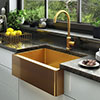 Venice Brushed Gold Belfast Stainless Steel Kitchen Sink + Waste profile small image view 1