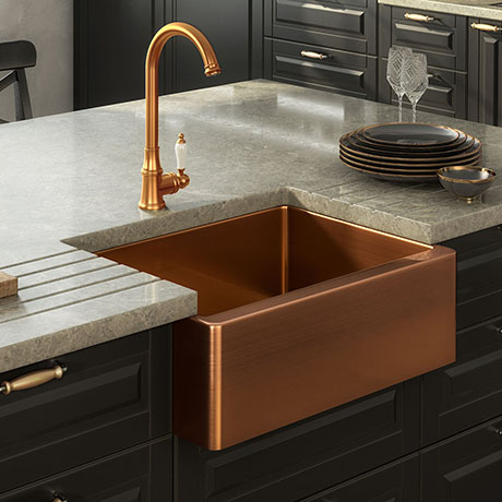 Venice Brushed Copper Belfast Stainless Steel Kitchen Sink + Waste