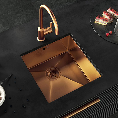 Venice 1.0 Bowl Brushed Copper Inset or Undermount Stainless Steel Kitchen Sink + Waste