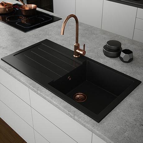Venice 1.0 Bowl Matt Black Composite Kitchen Sink + Chrome Waste