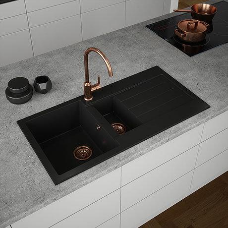 Venice 1.5 Bowl Matt Black Composite Kitchen Sink + Chrome Wastes