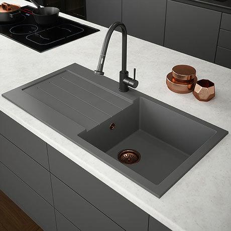 Venice 1.0 Bowl Matt Grey Composite Kitchen Sink + Chrome Waste