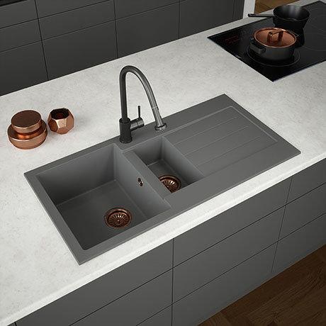 Venice 1.5 Bowl Matt Grey Composite Kitchen Sink + Chrome Wastes