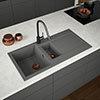 Venice 1.5 Bowl Matt Grey Composite Kitchen Sink + Chrome Wastes profile small image view 1