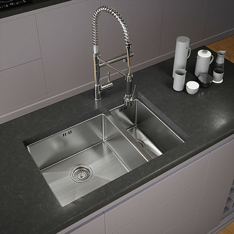Venice 1.5 Bowl Inset or Undermount Stainless Steel Kitchen Sink + Wastes