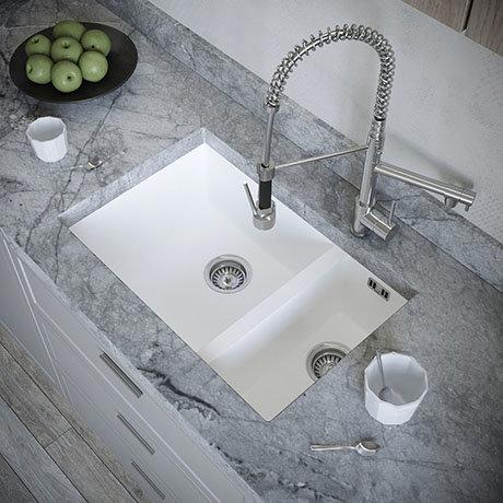 Venice 1.5 Bowl Matt White Inset or Undermount Composite Kitchen Sink