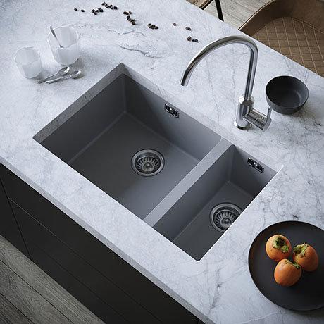 Venice 1.5 Bowl Matt Grey Inset or Undermount Composite Kitchen Sink