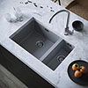 Venice 1.5 Bowl Matt Grey Inset or Undermount Composite Kitchen Sink profile small image view 1