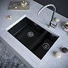 Venice 1.5 Bowl Matt Black Inset or Undermount Composite Kitchen Sink profile small image view 1