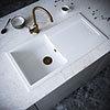 Venice 1.0 Bowl Matt White Composite Kitchen Sink + Chrome Waste profile small image view 1
