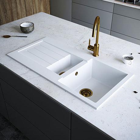 Venice 1.5 Bowl Matt White Composite Kitchen Sink + Chrome Wastes
