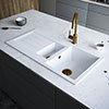 Venice 1.5 Bowl Matt White Composite Kitchen Sink + Chrome Wastes profile small image view 1