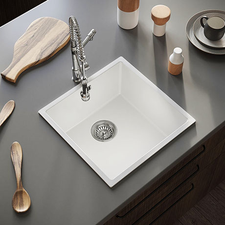 Venice 1.0 Bowl Gloss White Inset or Undermount Composite Kitchen Sink