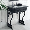 Victrion Traditional Black Aluminium Basin Wash Stand with Granite Worktop profile small image view 1