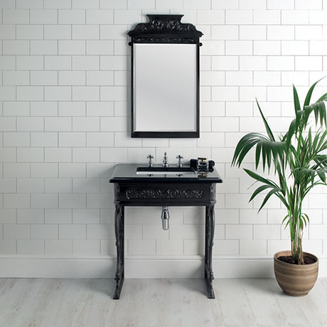 Victrion Traditional Black Aluminium Basin Wash Stand & Mirror Set