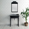 Victrion Traditional Black Aluminium Basin Wash Stand & Mirror Set profile small image view 1