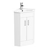 Nuie High Gloss White Corner Cabinet Vanity Unit with Basin - VTCW001 profile small image view 1
