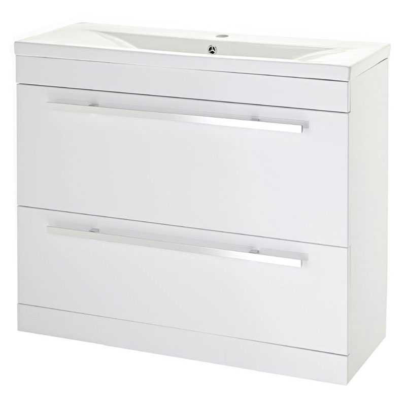 Premier - 1000 x 400mm Floor Standing Mid Edge Basin & Cabinet - Gloss White - VTFE1000 Large Image