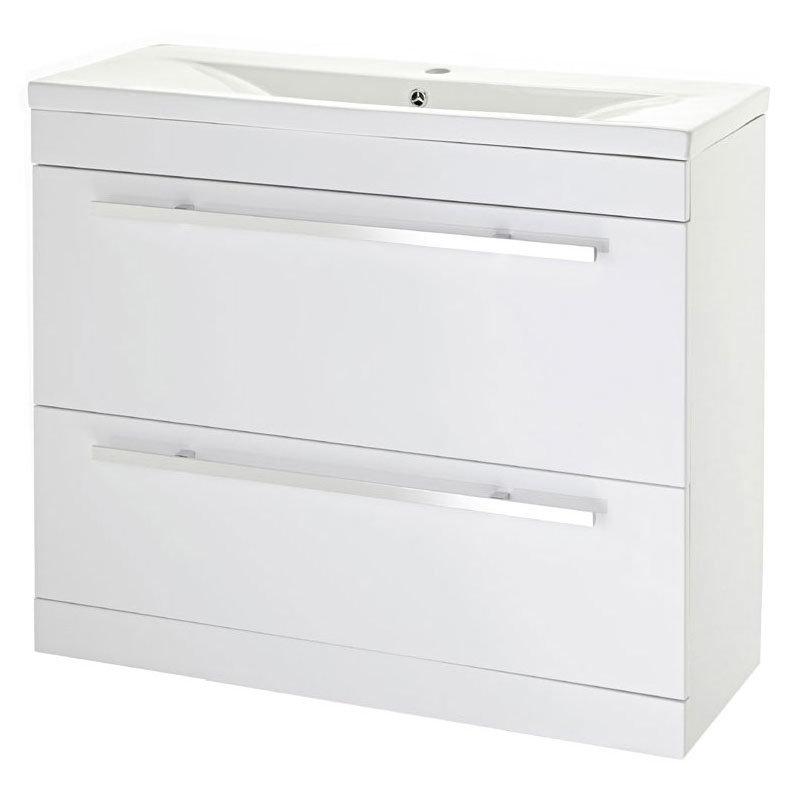 Premier - 1000 x 400mm Floor Standing Mid Edge Basin & Cabinet - Gloss White - VTFE1000 profile large image view 1