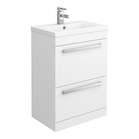 Premier - 600 x 400mm Floor Standing Mid Edge Basin & Cabinet - Gloss White - VTFE600