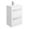 Premier - 600 x 400mm Floor Standing Mid Edge Basin & Cabinet - Gloss White - VTFE600 profile small image view 1