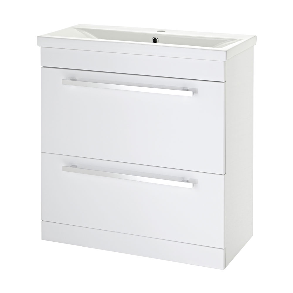 Premier - 800 x 400mm Floor Standing Mid Edge Basin & Cabinet - Gloss White - VTFE800 Large Image