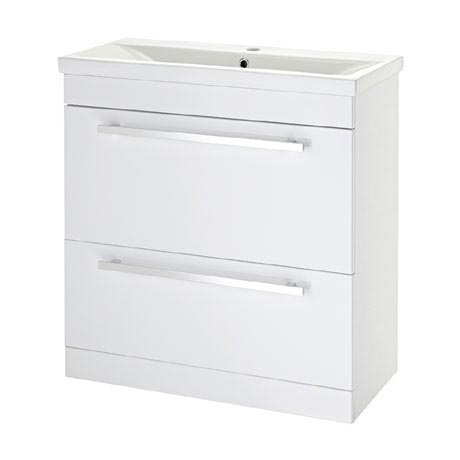 Premier - 800 x 400mm Floor Standing Mid Edge Basin & Cabinet - Gloss White - VTFE800