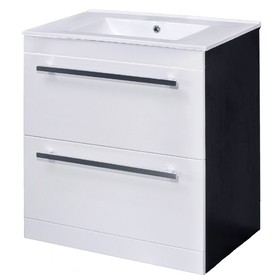 Nova 1000 x 400mm White & Ebony Brown Floor Standing Basin Unit - VTFEB1000 Large Image