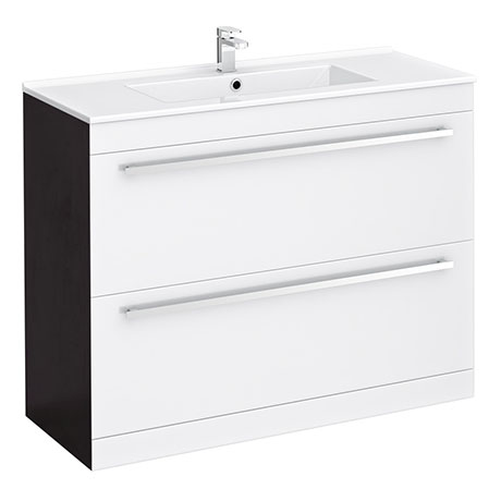 Nova 1000 x 400mm White & Ebony Brown Floor Standing Basin Unit - VTFEB1000