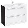 Nova 1000 x 400mm White & Ebony Brown Floor Standing Basin Unit - VTFEB1000 profile small image view 1