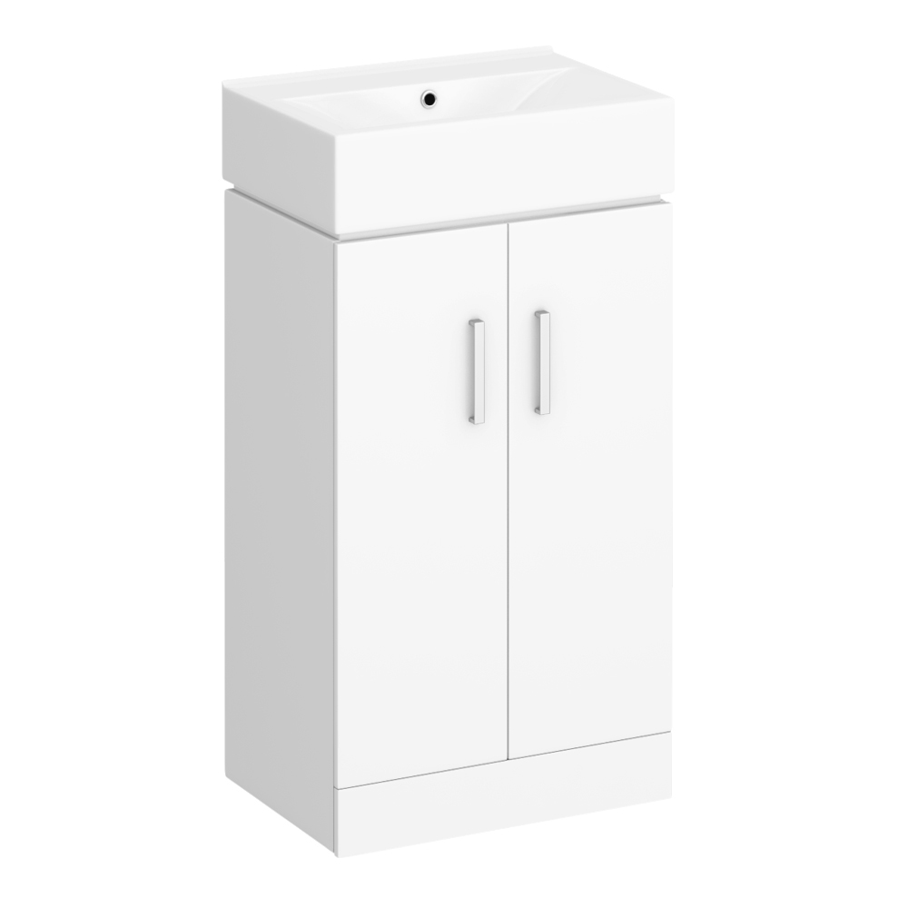 Nova Vanity 0TH Sink With Cabinet - 450mm Modern High Gloss White