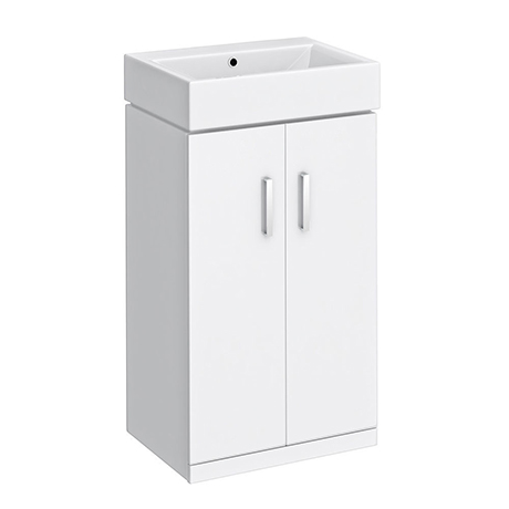Nova Vanity 0TH Sink With Cabinet - 450mm Modern High Gloss White
