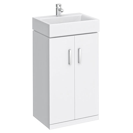 Nova Vanity Sink With Cabinet - 450mm Modern High Gloss White