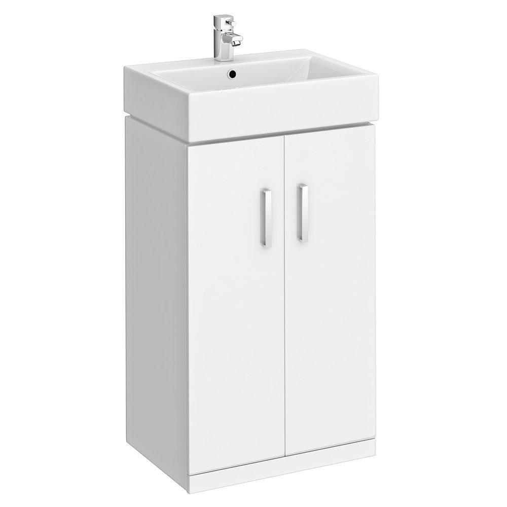 Nova Vanity Sink With Cabinet - 450mm Modern High Gloss White
