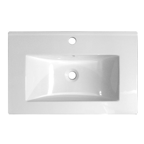 Nova Vanity Sink With Cabinet - 600mm Modern High Gloss White Profile Large Image