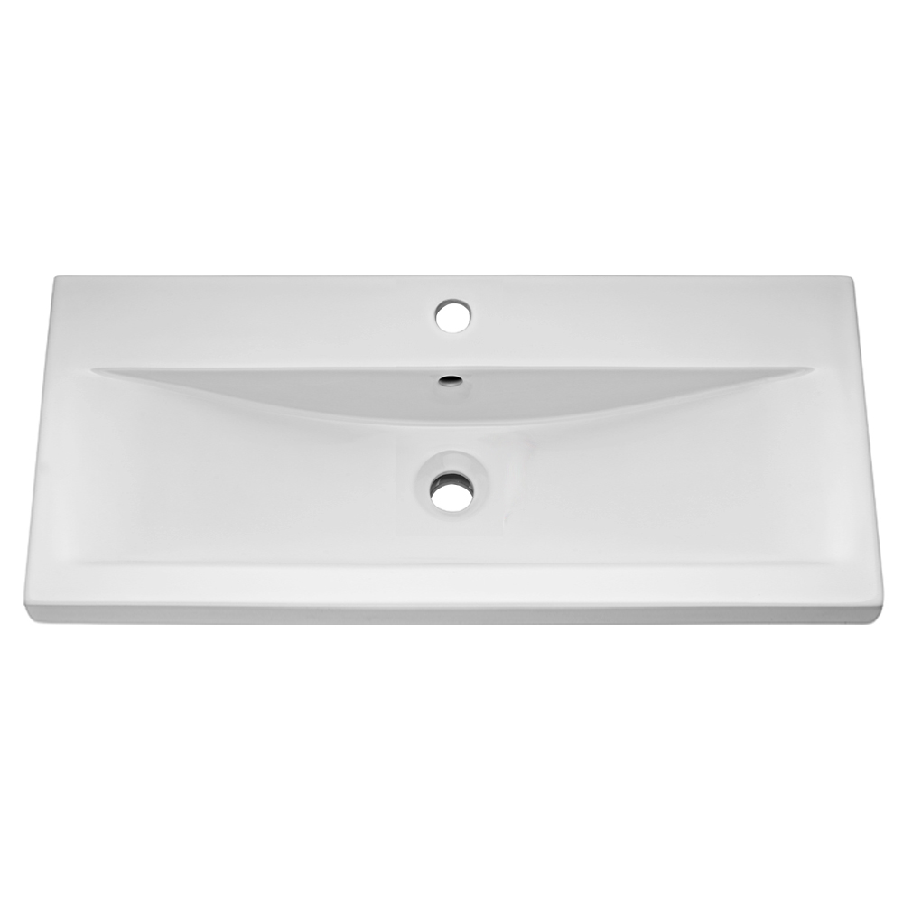 Turin Basin Unit - 800mm Modern High Gloss White with Mid Edged Basin Profile Large Image
