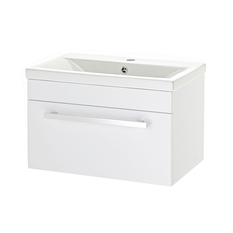 Premier - 600 x 400mm Wall Mounted Mid Edge Basin & Cabinet - Gloss White - VTWE600 Large Image