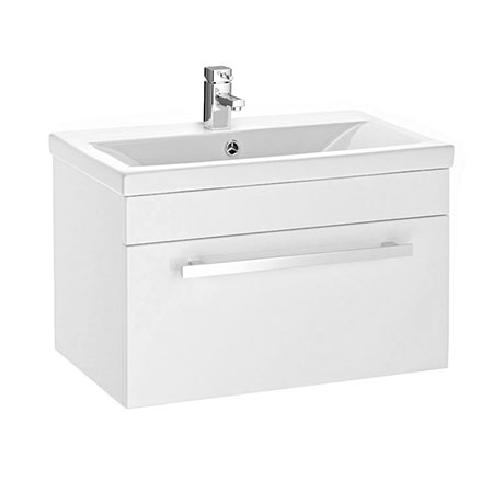 Premier 600 x 400mm Wall Mounted Mid Edge Basin & Cabinet - Gloss White - VTWE600