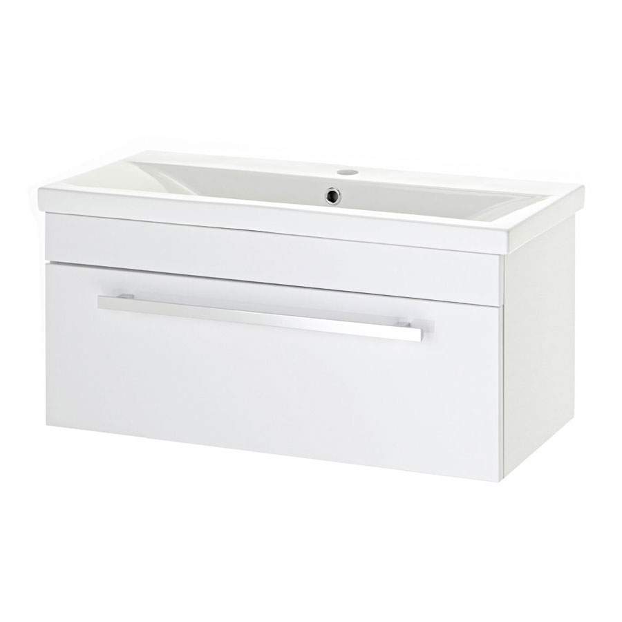 Premier - 800 x 400mm Wall Mounted Mid Edge Basin & Cabinet - Gloss White - VTWE800 Large Image