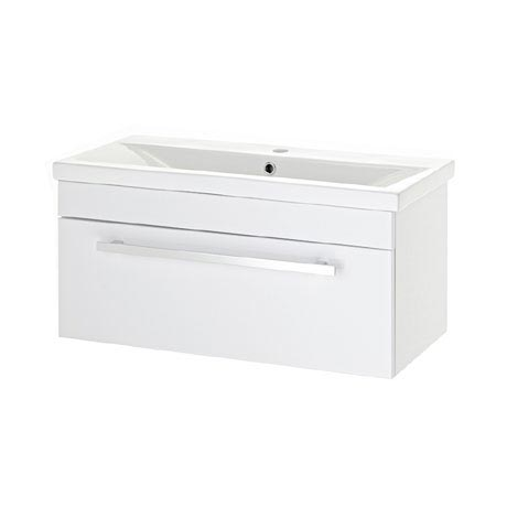 Premier - 800 x 400mm Wall Mounted Mid Edge Basin & Cabinet - Gloss White - VTWE800