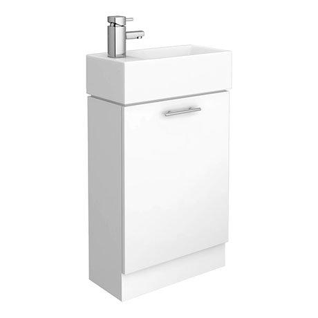 Cubix High Gloss White Vanity Unit inc Ceramic Basin W480 x D230mm - VTY058